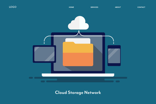 Cloud computing, network server, communication, digital technology, message internet, secure storage with data transfer concept. Flat design web banner template.