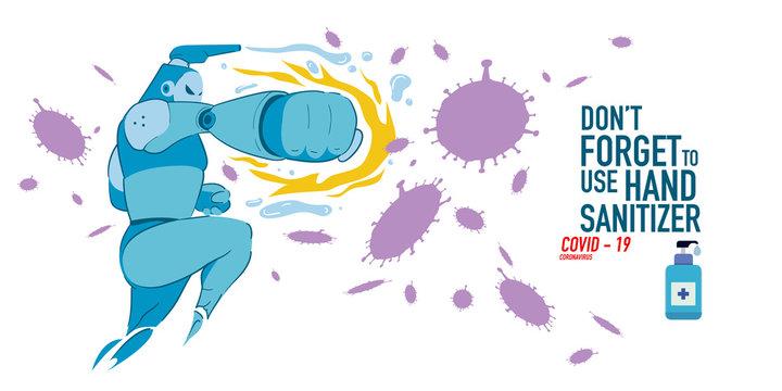 Cartoon Illustration of hand sanitizer superhero attack corona virus, cover-19.