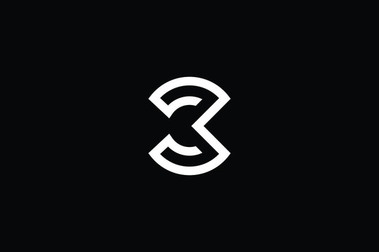 Minimal elegant monogram art logo. Outstanding professional trendy awesome artistic B BC CB initial based Alphabet icon logo. Premium Business logo White color on black background