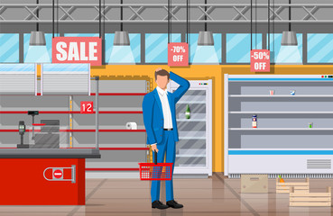 Desperate customer in supermarket with empty shelves. Empty basket, food hoarding. No food or necessities in store. Financial crisis, war epidemic virus. Panic of Coronavirus. Flat vector illustration