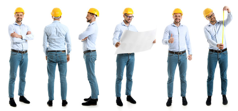 Collage with male engineer on white background
