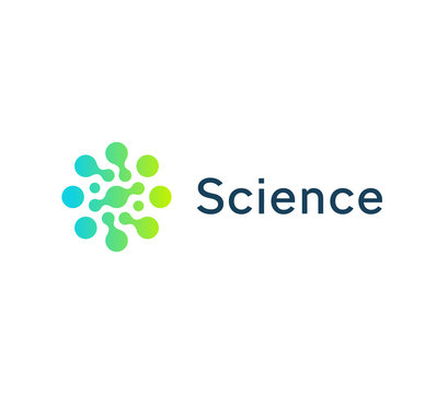 Science circle icon, green and blue circles. Dotted logo template, flat round emblem. Concept logotype design for business startup, science, medicine, automotive, technology. Vector logo.