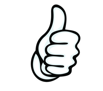 Thumbs up vector icon. Hand showing symbol Like. Making thumb up gesture Vector illustration isolated on a white background.