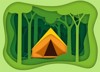 Pape summer landsape. Background for summer camp, nature tourism, camping design concept.