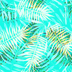 Keuken foto achterwand Tropische Bladeren Seamless tropical pattern with palm leaves on a background of blue sky, summer beach print.