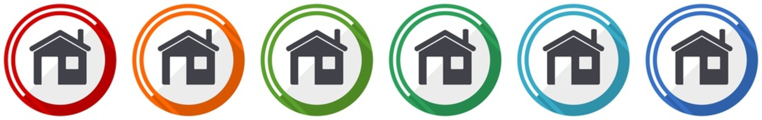 House icon set, home, flat design vector illustration in 6 colors options for webdesign and mobile applications