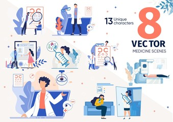 Vaccination Against Viruses, Sight Problems, Eye Diseases Treatment, Medical Insurance Trendy Flat Vector Scenes, Concepts Set. Patient Visiting Ophthalmologist, Waiting for Appointment Illustrations