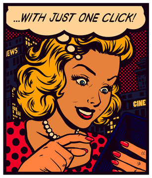 Pop art vintage comics woman texting, messaging, surfing website or using app on a smartphone with speech bubble, simple user experience concept vector poster illustration