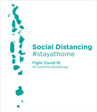 Maldives map with Social Distancing stayathome tag