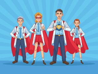 super doctors staff with hero cloaks vs covid19