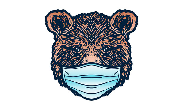 Portrait of a bear wearing medical mask. Coronavirus concept. Respiratory protection.