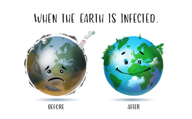Digital illustration painting design style comparing between before and after of the Earth was infected.