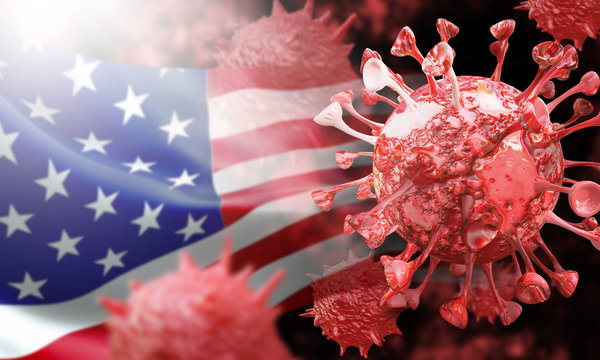 USA America coronavirus COVID-19 under the microscope backgrounds. 3d render illustration