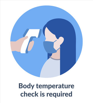 Simple Flat Illustration Showing Body Temperature Check Sign During Covid-19 Outbreak