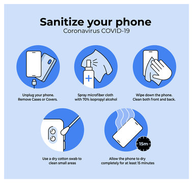 Simple Coronavirus Instruction showing how to sanitize mobile phone during Covid-19 outbreak.