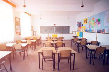 Blurred background of school classroom.