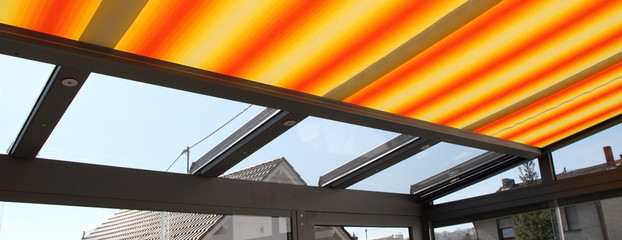 Fototapeta a modern new conservatory with awning obraz