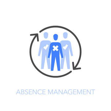 Employee absence management symbol with a group of people and refresh arrows. Easy to use for your website or presentation.