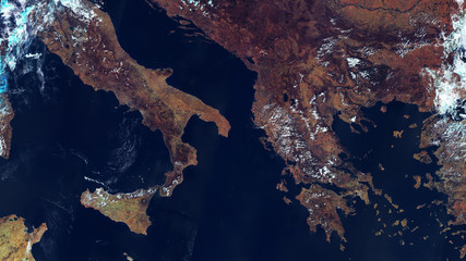 Satellite map of Europe, Mediterranean coast, Italy and Greece. contains modified Copernicus Sentinel data