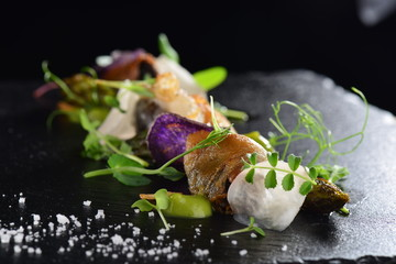 Foto auf Gartenposter Barcelona Haute cuisine, Gourmet food scallops with asparagus and lardo bacon