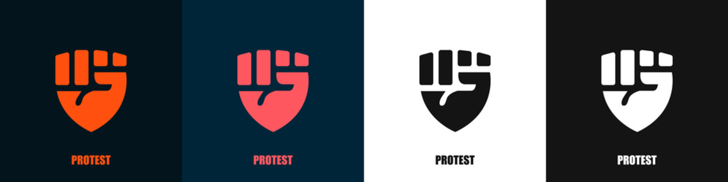 Set of logos of protest. Fist stretched up. Badges of the revolution. Vector illustration