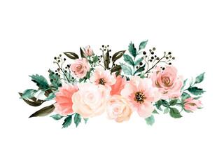 watercolor elegant vintage bouquet green teal pink blush flower gold and black boyanical