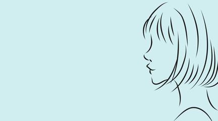 女性の横顔。水色背景のシンプルおしゃれイラスト