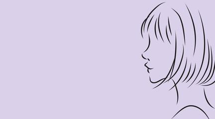 女性の横顔。パープル背景のシンプルおしゃれイラスト