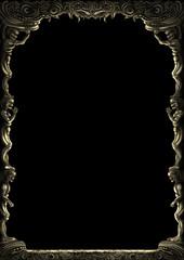 Obraz Fantasy monsters ornamental frame/ Illustration decorative fantasy medieval frame with monsters bodies. Digital painting - fototapety do salonu