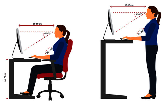Correct sitting and standing posture when using a computer