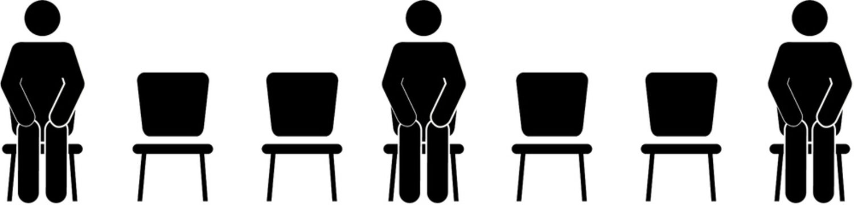 Abstand beim Sitzen
