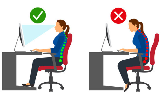 Ergonomics - Correct and incorrect sitting posture when using a computer