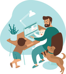 Door stickers Flame Busy father working from home with kids and dog