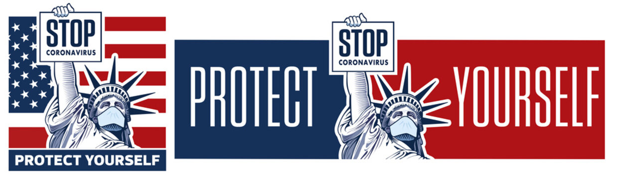 Stop coronavirus concept with Statue of Liberty