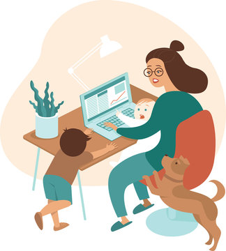 Busy mother working from home with kids and dog