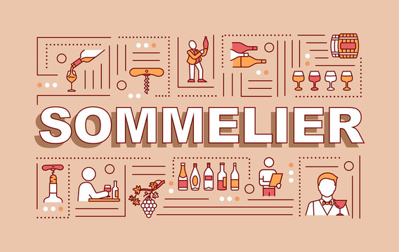 Sommelier word concepts banner. Gourmet alcohol grape drink recommendation. Infographics with linear icons on red background. Isolated typography. Vector outline RGB color illustration