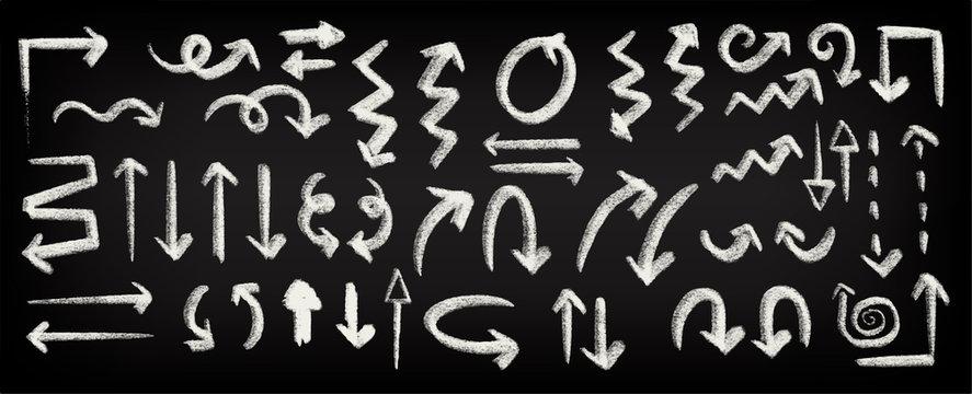 Chalk sketch arrow. Hand drawn chalk arrows, chalk arrow signs on chalkboard isolated vector icons set. Arrow sketch chalk, Arrows icon set for design, vector.