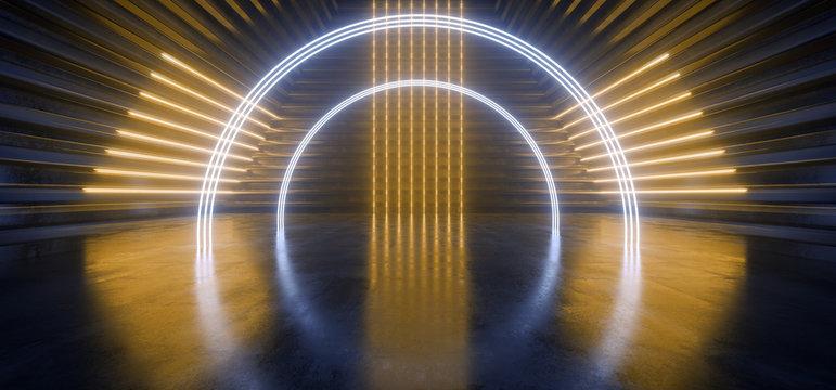 Neon Laser Triangle Circle Arc Alien Spaceship Tunnel Corridor Background Pantone Blue Yellow Stage Podium Lights Glowing Concrete Grunge Reflective Cyber Modern Hallway 3D Rendering