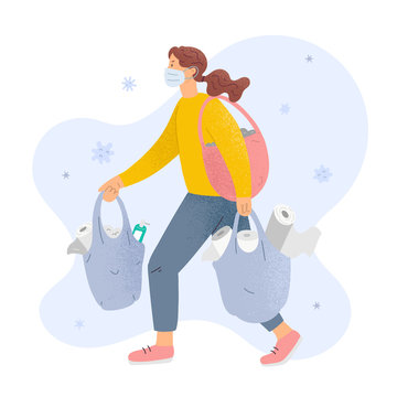 Woman shopping toilet paper wearing medical mask surrounded by coronavirus, concept of panic shopping during worldwide pandemic of covid-19, female character with bags full of tissues and sanitizers.