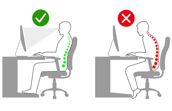 Ergonomics - Linedrawing of correct and incorrect sitting posture when using a computer
