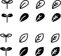Fototapeta 双葉や葉のアイコン/シンプル/イラスト/新芽
