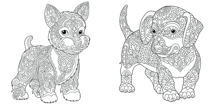 Coloring pages. Cute yorkshire terrier and dachshund.