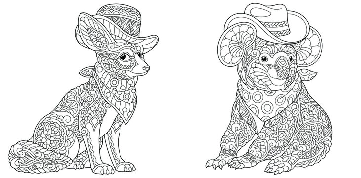 Coloring pages. Fashionable fennec fox and koala bear in hats.