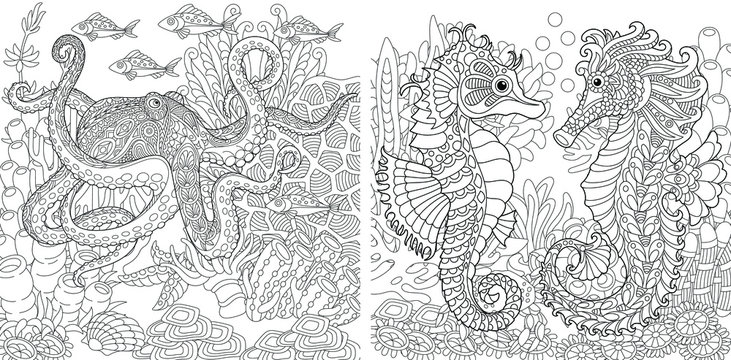 Coloring pages. Underwater landscapes with octopus and seahorses.