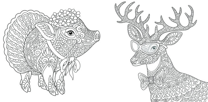 Coloring pages. Cute piggy and deer.