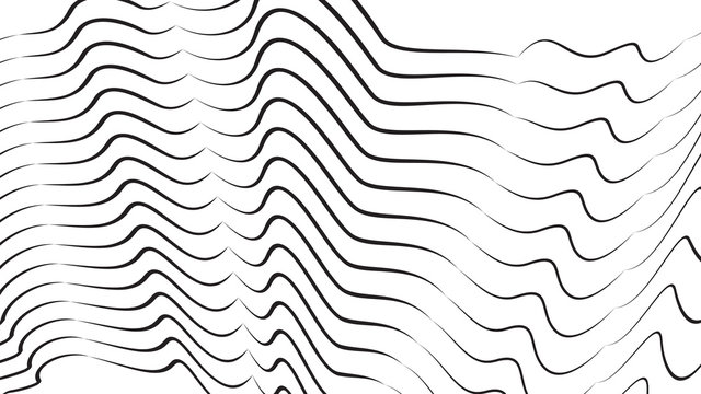 Futuristic Design Element. 3d Dynamic Forms. Optical Illustration. Graphic Print. Vibrant Effect. Abstract Black Stripes On White.
