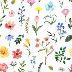 Obraz Cute summer meadow flowers seamless pattern. Watercolor wildflower repeat print for design. Hand painted pink, blue, yellow flowers and green leaf illustration on white background. Nursery wallpaper - fototapety do salonu