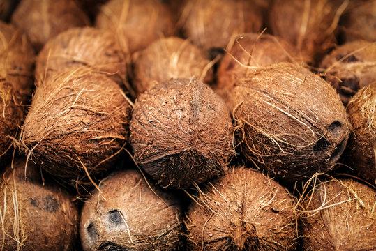 heap of ripe coconut