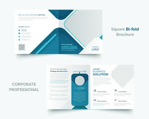 Corporate square bi-fold brochure design template