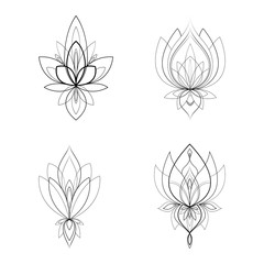 Papiers peints Style Boho Set of four ethnic Mandala ornaments for Henna drawing and tattoo template. Vector illustration